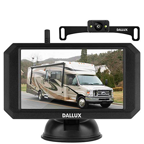 DALLUX Wireless Backup Camera with Stable Digital Signal,5 Inch Monitor+HD 1080P Front/Rear View Night Vision Waterproof Camera for Car,Pickup,Truck,RV,SUV,Van,Camper License Plate Easy Installation
