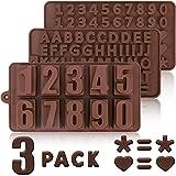 Qpout Silikon Candy Gummy Silikonform Buchstaben und Zahlen 3 Pack Buchstaben und Zahlen Fondant Schokoladen Formen mit Eiswürfelbehälter für Backform Kuchen Dekor für Kinder Zahlen Geburtstagsparty