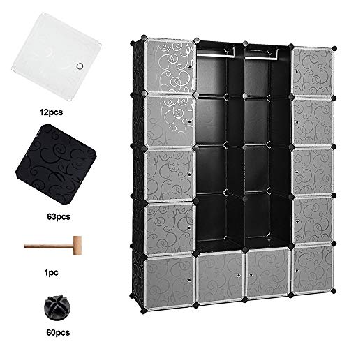 wolketon 20 Würfel Regalsystem Kleiderschrank Schwarz Kunststoff Garderobenschrank DIY einfach zu montieren offener Garderobe für Bücher Spielzeug Handtücher