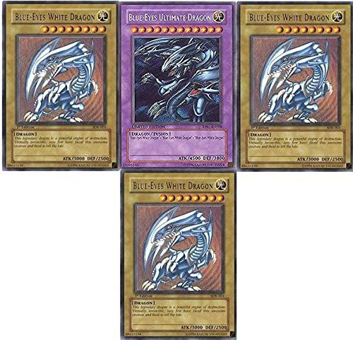 MISKD Yu-Gi-Oh!! Blue Eyes Ultimate Dragon!! 3 Blue Eyes White Dragon's! All Rare 20 Yugioh Card Lot!!