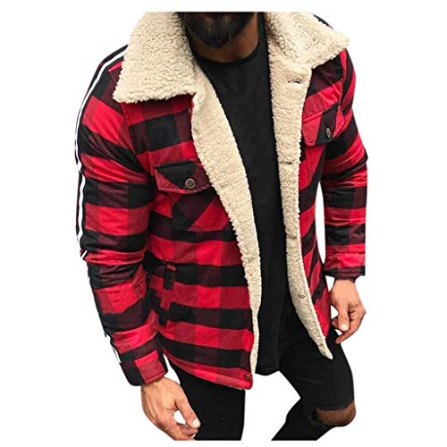 Men's Winter Fashion Faux Leather Jackets Vintage Full Zipper Thick Sherpa Lined Faux Leather Jacket Coat Bomber Jacket (XL, X - Red -1)