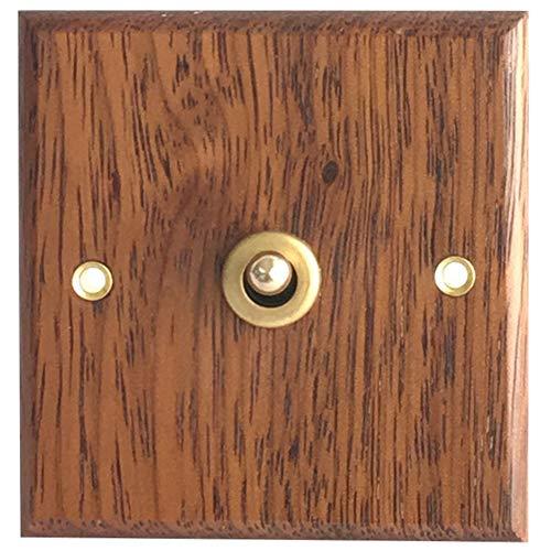 Semoic Interruptor de Panel de Madera Maciza Tipo 86, Luz de Pared, Interruptor de Palanca de LatóN Retro, Interruptor EléCtrico de Grano de Madera, Enchufe 1 Interruptor