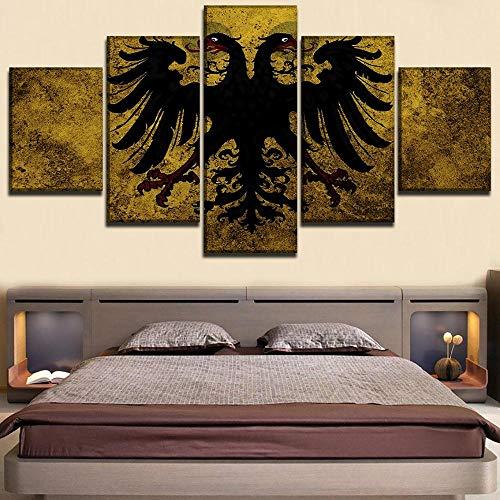 WANGZUO Arte De Pared Moderno Lienzo HD Impresiones Pintura Decoración del Hogar Imagen Modular 5 Paneles Banderas del Sacro Imperio Romano Cartel/Cuadro/150x80CM