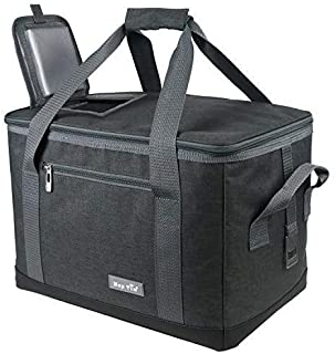 Hap Tim Soft Cooler Bag 40-Can Large Reusable Grocery Bags Soft Sided Collapsible Travel Cooler for Outdoor Travel Hiking Beach Picnic BBQ Party (US13634-Dark Grey)
