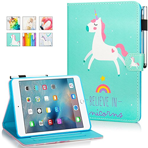 MOKASE Funda para iPad Mini, Mini 2/3/4/5, Funda de Piel con función Atril, Funda Protectora Tipo Cartera Colorida para iPad Mini 1, 2, 3, 4 y 5