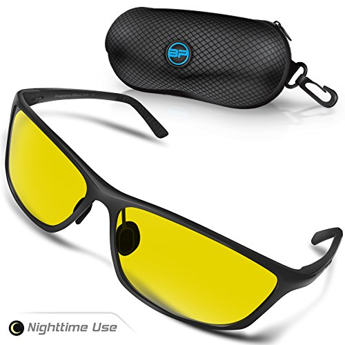 BLUPOND Night Driving Glasses for Men/Women - Semi Polarized Yellow Tint HD Vision Anti Glare Lens - Unbreakable Metal Frame - Rally (Black Frame)