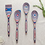 4-Pc Wood Kitchen Utensil Set Wooden Cooking Spoons - Red & Blue Home gadgets