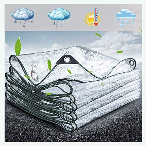 LH-RUG Plant Cover Transparent Tarpaulin Waterproof PVC Plastic Tarp With Eyelets, Flower Plant Sheet Covers Rainproof, 400g/m² (Color : Clear, Size : 2x2.5m)