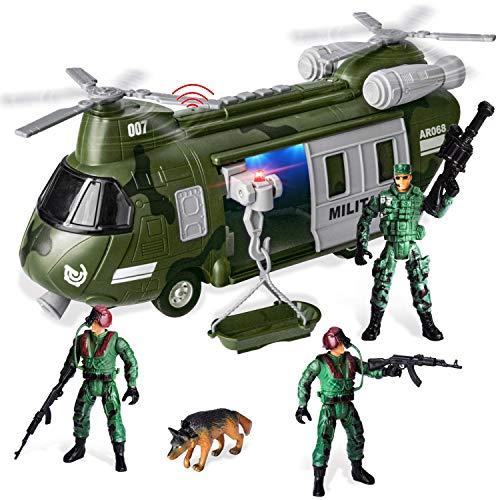 JOYIN Juguetes de Vehículos Militares, helicóptero de Transporte Propulsado por Fricción con Sirena de Luz y Sonido, y Figuras de acción de Soldados del ejército para niños