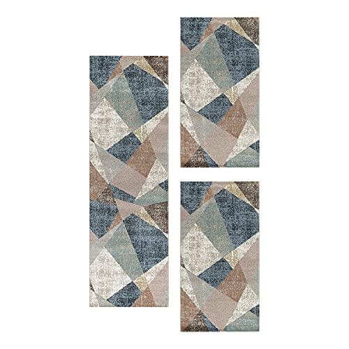 HomebyHome Juego de alfombras para el Dormitorio Aristo 3 Piezas Zipcode Pattern, Color:Multi, Juego de Cama:2X 80x150 + 1x 80x250