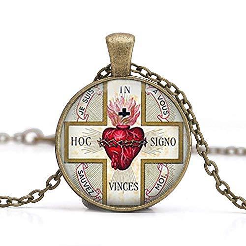 SACRED HEART Pendant Necklace. Sacre Coeur. Flaming Heart. Jesus Christ Religious Necklaces Pendant