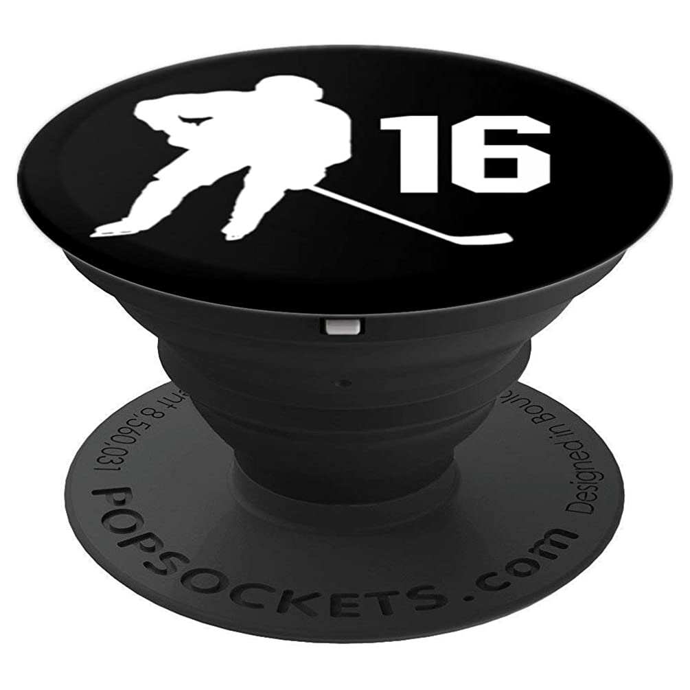 Number 16, #16, Hockey Gifts for Men, Boys, Teens, Women, - PopSockets Grip and Stand for Phones and Tablets