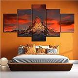 Poster Drucke Landschaft Wandkunst 5 Panel Schweiz Zermatt