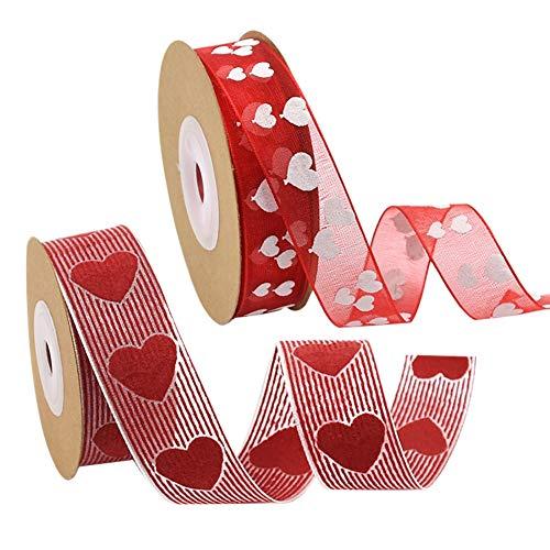 Lazos de tela con diseño de corazón rojo para manualidades, cinta tejida para el día de San Valentín, Día de la Madre, hecho a mano, suministros de DIY,para envolver regalos, coser, lazo, 2 rollos