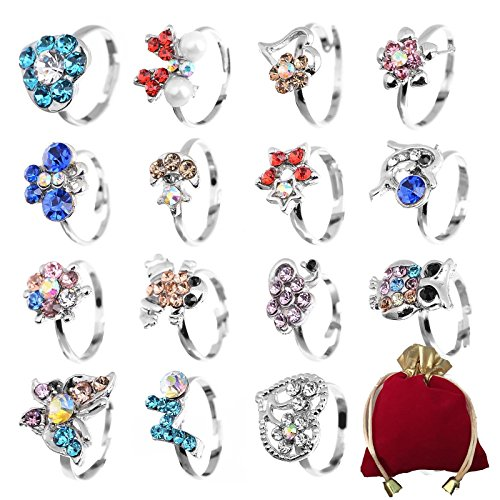 Shuning Children Kids 20pcs Cute Crystal Adjustable Rings Jewelry