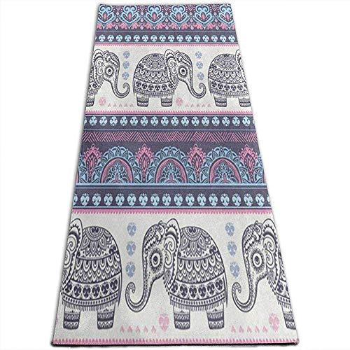 Tapis de Yoga Indien Antique d'éléphant de Lotus antidérapant Tapis Uniques de Yoga pour Le Yoga, Pilates, Exercices au Sol, Stretch [61X180Cm]