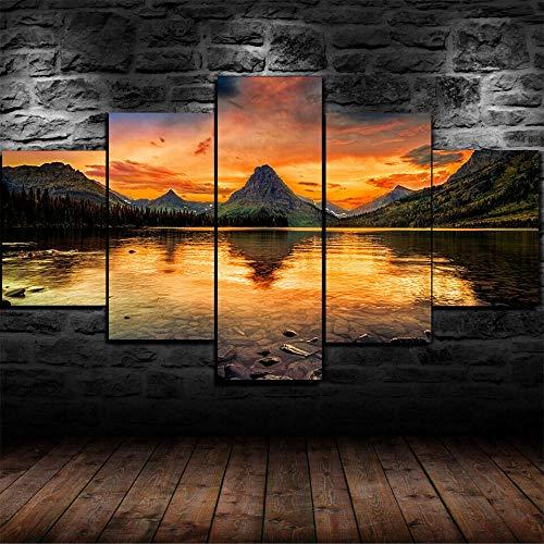 VKEXVDR Art Impresión Lienzo,Tamaño Grande, Two Medicine Lake Naturaleza -200x100cm Diseño Profesiona/5pcs(Sin Marco)