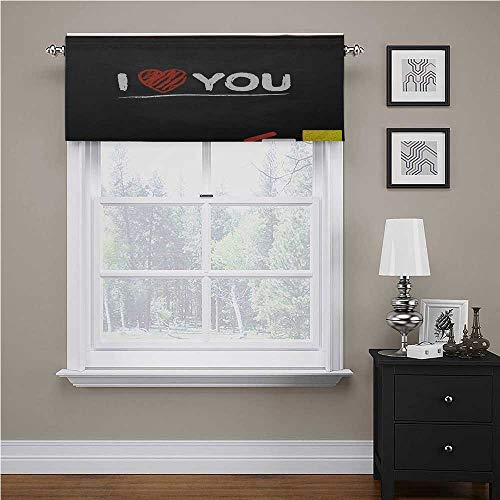 I Love You Valances for Kitchen Windows Cartoon Illustration of a Blackboard with Charcoal Written Wording and Heart Bedroom Living Room Valance Panel Multicolor 42' x 18', Rod Pocket 1 Valance