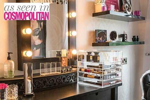 Grande Hauteur Top Section 5 niveaux Acrylique Transparent Cosmétique Maquillage Organiseur de cube fait à la main avec 4 tiroirs et séparateurs