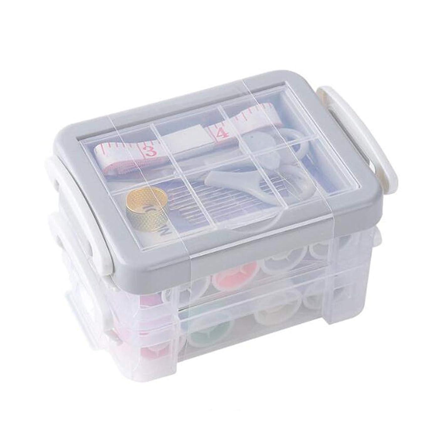 LJSLYJ 三段 仕切り 裁縫道具 小物 透明 収納ボック 多機能 ポータブル 針糸 アクセサリー 収納ケース(グレー)