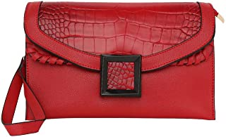 ELLIZA DONATEIN Womens Snap Closure Sling Bag (Red_Free Size)