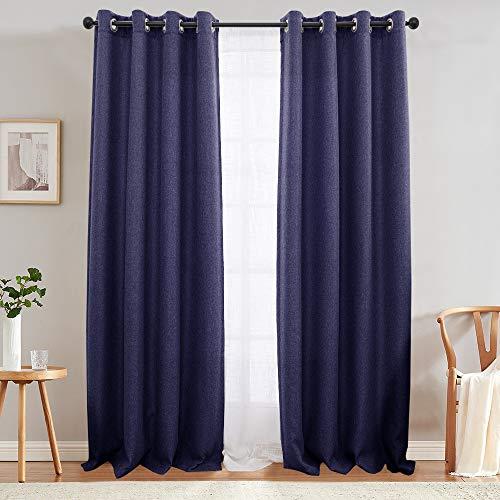 jinchan Cortinas de tela de lino para sala de estar, cortinas opacas con ojales, 2 paneles (90 pulgadas, azul marino)