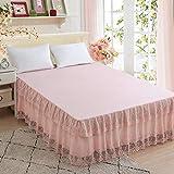 JJCDKL Juego de sábanas de Falda de Cama de Encaje de 1 Pieza Funda de colchón de sábana de Princesa Funda de colchón de Reina Completa