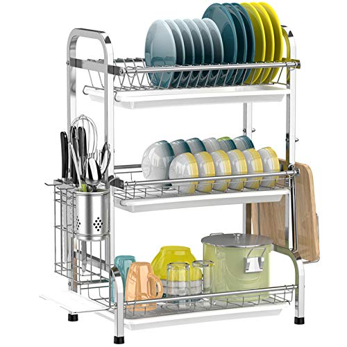 Dish Drying Rack, iSPECLE 3-Tier Large Capacity 201 Stainless Steel Dish Rack with Utensil Holder, Cutting Board Holder and Dish Drainer for Kitchen Counter