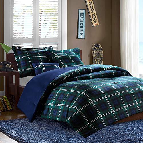 MIZONE Cozy Comforter Set Cabin Lifestyle Plaid Design All Season Bedding Matching Shams, Decorative Pillow, Twin/Twin X-Large, Brody Blue, 3 Piece
