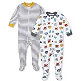 GERBER Baby Girls' 2-Pack Footed Unionsuit, Animal Heads, 24 Month