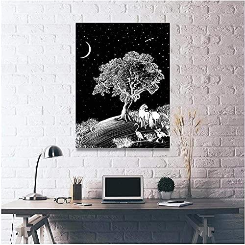 Árbol de vista blanca Decoración para el hogar Arte de la pared Cuadro de lienzo modular Impreso HD Pinturas hermosas Sala de estar Obra de arte-40X60cm-16x24 pulgadas Sin marco
