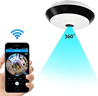 Wi-Fi Wireless IP Security Camera,360 Degree HD Indoor Camera for Home Security&Office,Multi-Function Camera with 2-Way Audio&Remote Recording&Motion Detection&IR Night Vision (Without TF Card)
