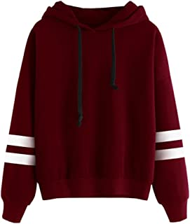 CHILLY LOOKATOOL Womens Long Sleeve Solid Color Hoodie Sweatshirt Jumper Hooded Pullover Tops Blouse