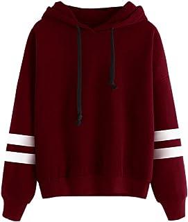 LOOKATOOL Womens Long Sleeve Solid color Hoodie Sweatshirt Jumper Hooded Pullover Tops Blouse