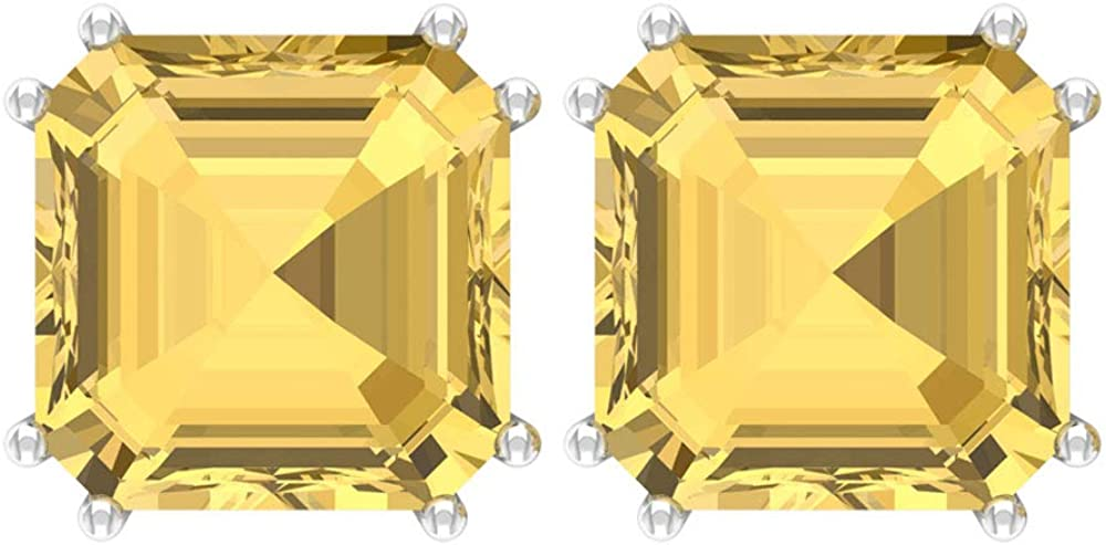 Rosec Jewels - 9 CT Citrine Stud Earrings, Solitaire Gemstone Earrings (AAA Quality), Screw back