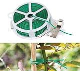 ZoneYan 2 PCS 60M Gardening Twist Tie, Multi-Function legacci per Piante, Cravatta Vegetale Morbida with Cutter, Piantecon Taglierinoper Giardinaggio Casa Ufficio
