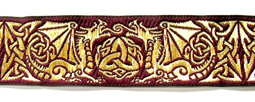 10m Keltische Borte Webband 35mm breit Farbe: Bordeaux-Gold von 1A-Kurzwaren 35027-bogo