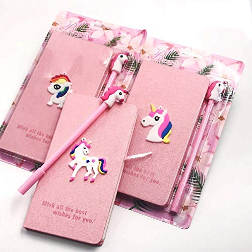 g4gift (pack of 6) cute slim unicorn notebook diary with gel pen for girls birthday party return gifts purposes (diary with pen) (pink)-Paper, Multi color