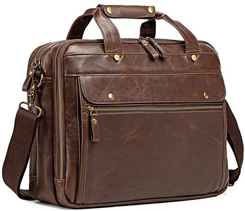 Leather Briefcase for Men Computer Bag Laptop Bag Waterproof Retro Business Travel Messenger Bag For Men Large 15.6 Inch,Perfect Gifts For Husband/Christmas Gifts for Men (Brown)