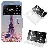 iGlobalmarket Sony Xperia Z5 Premium, Funda con Tapa, Apertura Lateral Tipo Libro, Cuero PU, Dibujos Torre Eiffel