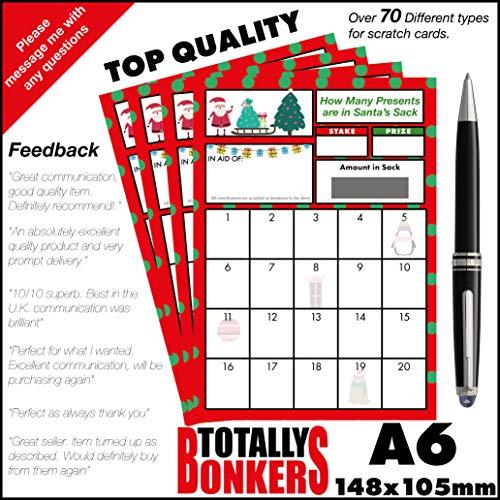 Générique Lot de 10 Cartes de Noël à gratter Motif How Many Presents are in Santa Sack
