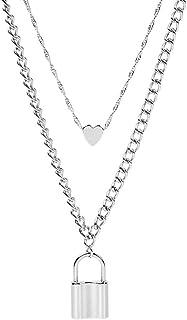 yiwushidaili Punk Lock Chain Choker Necklace Gold Silver Long Lock Heart Pendant Necklace Layered Love Lock Padlock Link N...