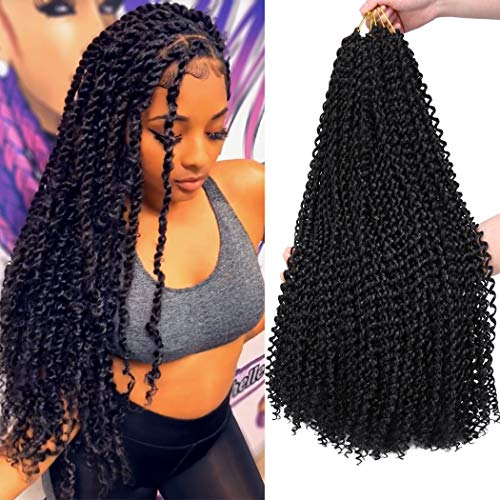 7 Packs Passion Twist Hair 22 Inch Water Wave Synthetic Braids for Passion Twist Crochet Braiding Hair Goddess Locs Long Bohemian Curl Hair Extensions (22Strands/Pack, 1B#)