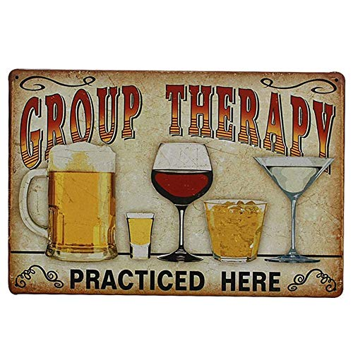 PRO CUT GRAPHICS - 1 x Group Therapy - Funny Sign Vintage Retro Effect Vinyl Wall Sticker - Home Man Cave Pub Shed Bar Gamer - 20x15cm A5 (Printed Colour Image)