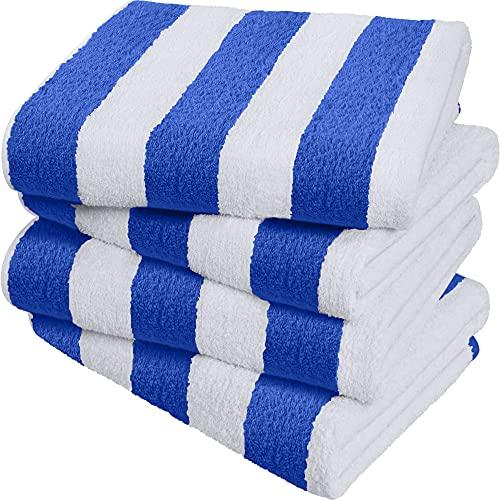 Utopia Towels - Cabana blau und weiß gestreift Strandtücher (76 x 152 cm) - große Pool-Handtücher aus 100 % ringgesponnener Baumwolle, weiche und schnell trocknende Badetücher (4er-Pack)
