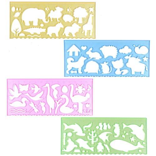 BronaGrand Schablonen-Set 4-teiliges Schablonen Zeichen-Kit Kunststoff Schablonen Tier Form Malschablonen Set Ideales Spielzeug mit pädagogischem Mehrwert für Kinder zur Förderung der Kreativität