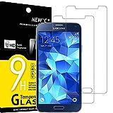 NEW'C 2 Unidades, Protector de Pantalla para Samsung Galaxy S5 New, Antiarañazos, Antihuellas, Sin Burbujas, Dureza 9H, 0.33 mm Ultra Transparente, Vidrio Templado Ultra Resistente
