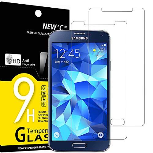 NEW'C Lot de 2, Verre Trempé Compatible avec Samsung Galaxy S5 New, Film Protection écran sans Bulles d'air Ultra Résistant (0,33mm HD Ultra Transparent) Dureté 9H Glass