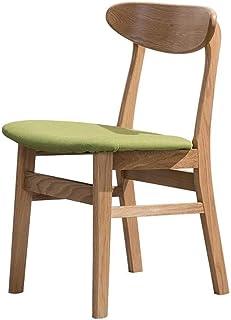 DJY-JY Silla de comedor 2 sillas creativo del color de la nuez de madera maciza Sillas de comedor Silla de oficina Silla Silla Silla de roble Tela café de cocina (Color: verde, Tamaño: 45cm x 45cm x 7