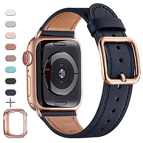 MNBVCXZ Armbänder Kompatibel mit Apple Watch Armband 38 mm 40 mm 42 mm 44 mm, Top Grain Lederband, Ersatzarmband für iWatch-Serie 5/4/3/2/1, Unique Design Edition(38mm 40mm,Dunkelblau&Rosegold)